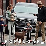 Gisele Bündchen and Tom Brady took their kids, Jack, Benjamin, and Vivian, to the park in Boston.