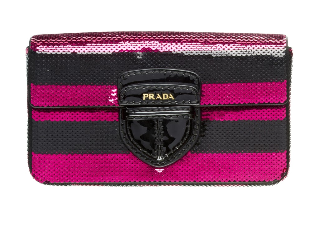 >> The stripe-filled Spring 2011 Prada collection has many fashion devotees in a tizzy — those striped Prada flatform oxfords, for example, already sold out last month in New York — and the craze isn't letting up yet. Prada stores are about to get stocked with the new Pailettes collection, which features striped and sequined clutches ($1,050) and shoppers in Yves Klein blue or hot pink. A first look at the line in the gallery.