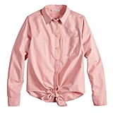 POPSUGAR Knot-Front Button Down Shirt