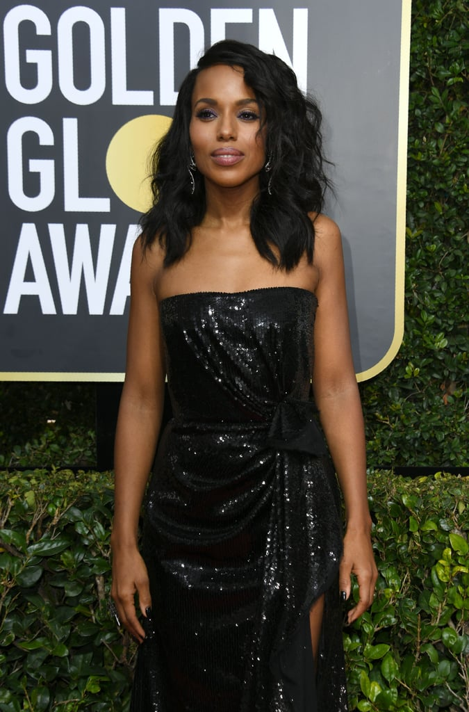 Kerry Washington made a stunning appearance at the Golden Globes in LA on Sunday. Clad in a black strapless dress, the Scandal star was joined by her husband, former football star, actor, and producer Nnamdi Asomugha, who proudly sported a Time's Up pin on the lapel of his suit; Kerry is one of the actresses at the forefront of the recent Time's Up campaign, which aims to combat sexual harassment and assault in the workplace. Kerry joined fellow A-listers Reese Witherspoon, Tracee Ellis Ross, Rashida Jones, and Brie Larson in an Instagram video announcing why they were planning to wear black to the event.   Kerry and Nnamdi don't make joint appearances very often, which is why it's so great to catch a glimpse of them together. They tied the knot in 2013 and welcomed daughter Isabelle the following year. In October 2016, Kerry gave birth to the couple's son, Caleb.