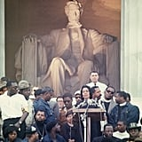 Coretta Scott King spoke to the crowd following the Poor People March.
