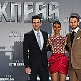Zachary Quinto, Zoe Saldana and Chris Pine posed at the Star Trek Into Darkness premiere in Berlin on Monday.