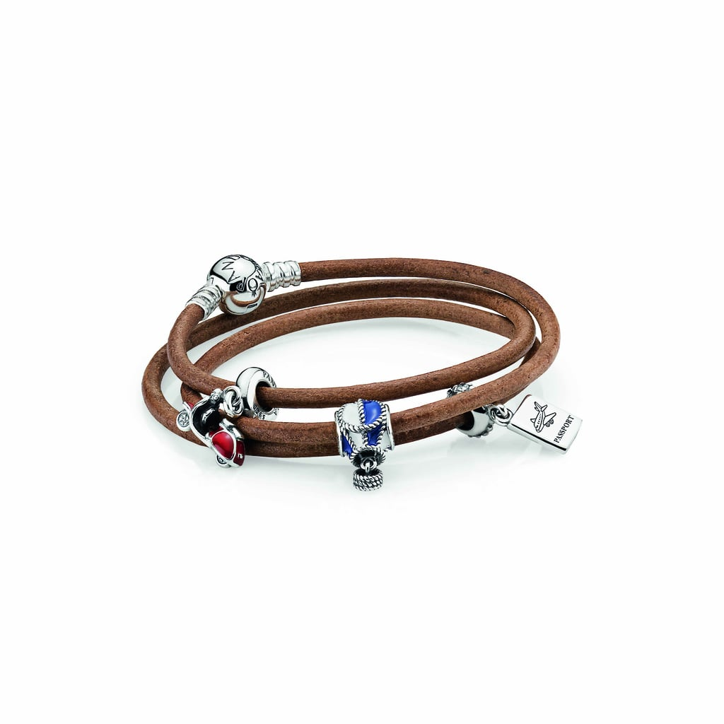 Smooth triple brown leather bracelet, $65 and sterling silver travel charms, from $45 each.