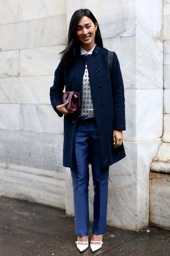 Sharp proportions and sleek tailored pieces made this look a sweet standout on the streets.