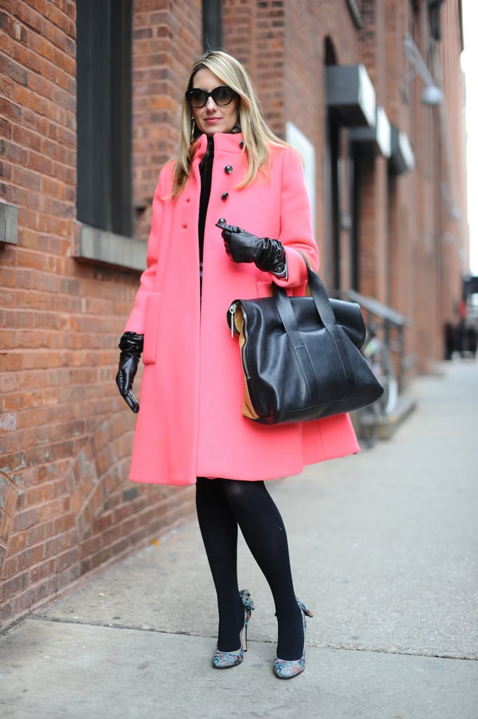 Our fashion and beauty director, Melissa Liebling-Goldberg, showed off a bright bit of outerwear, countered with Phillip Lim's sleek tote.