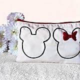 RosyBubbles Embroidered Mickey Minnie Pouch