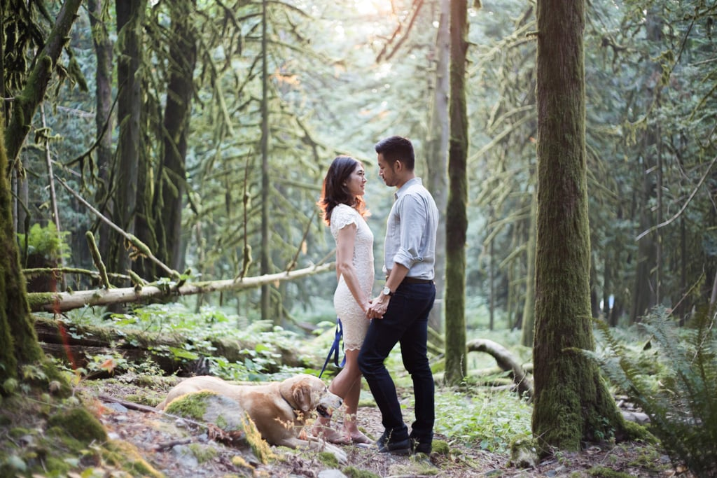 This Couple Brought Their Adorable Dog Along to Their Scenic Engagement Shoot