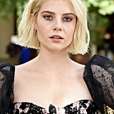 Lucy Boynton's Easy-Breezy Peach Makeup, 2019