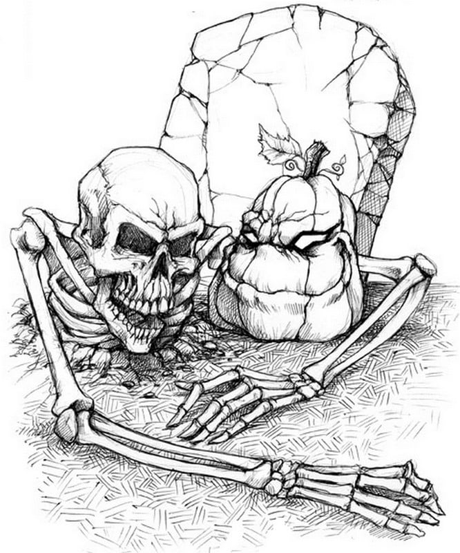 Skeleton in Grave Printable