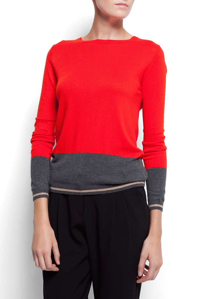 A subtle colorblock with a clean red-hued finish — you want preppy? Just snag one of Mango's merino wool jumpers ($50) in carmine.