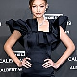 Gigi Hadid Black Zac Posen Dress at Pirelli Calendar Event