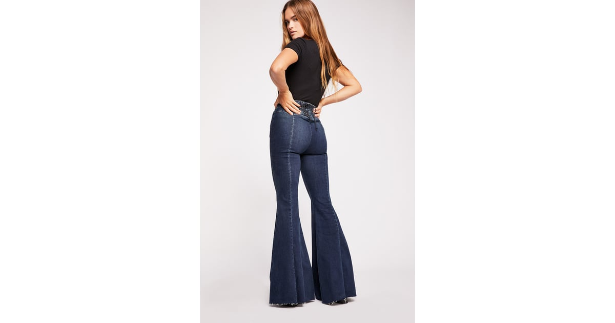 4f4120e634877c We the Free CRVY Super High-Rise Lace-Up Flare Jeans | Best Jeans for Women  Under $100 | POPSUGAR Fashion Photo 18