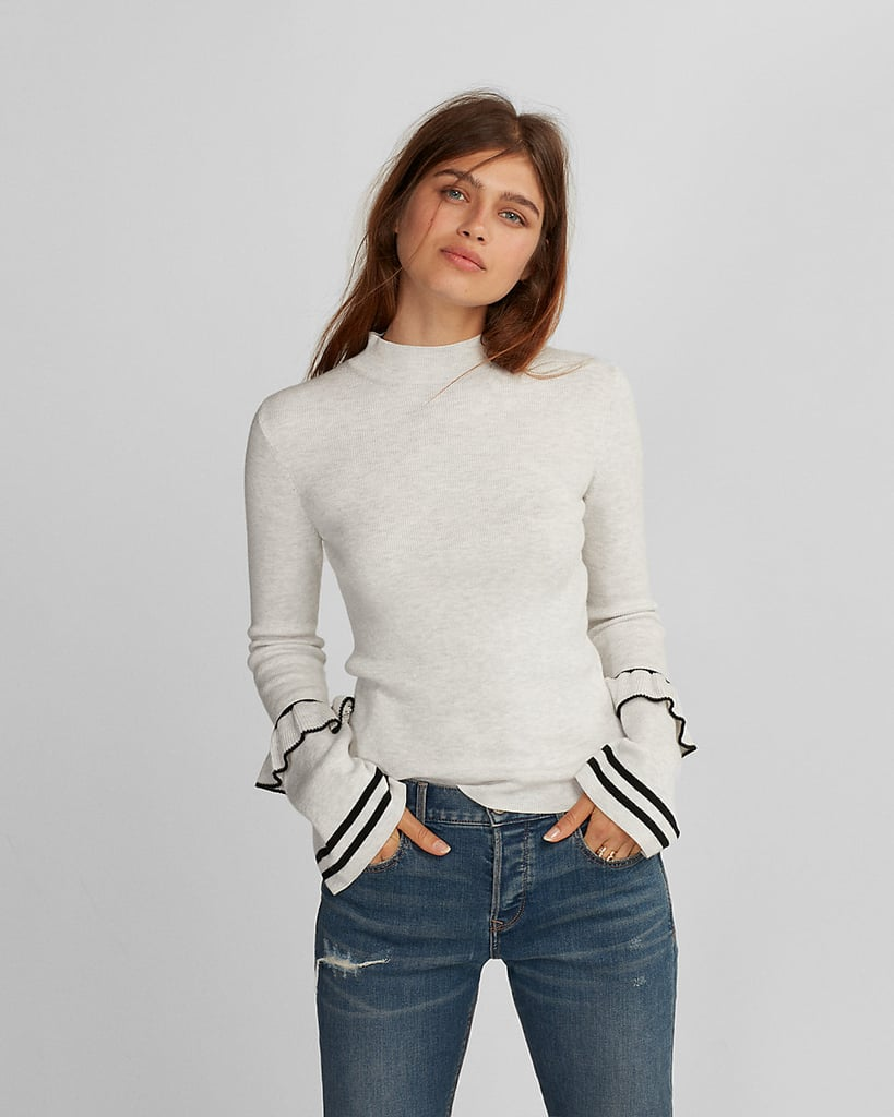 7a750c1d13 Express Ruffle Sleeve Mock Neck Sweater