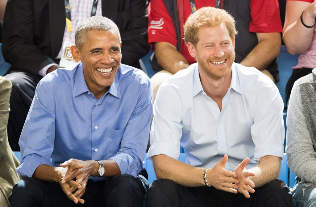 Prince Harry has been in Toronto for the annual Invictus Games all week, and on Friday, he was joined by a very special guest: former US president Barack Obama. The two were all smiles as they sat side by side to watch the wheelchair basketball game, along with Barack's other BFF, former vice president Joe Biden (as well as his wife, Jill), who is a longtime supporter of military families. Clad in matching shirt-and-jeans ensembles, Barack and Harry looked like two best friends just relaxing and having a fun conversation while checking out sports together. How cute are they?      Related:                                                                                                           So, Melania Trump Met Prince Harry — You Be the Judge of How It Went               We last got to see the two together back in May, when Barack visited Kensington Palace to discuss mental health, conservation, and support for veterans. The former president also offered his condolences to the victims of the horrific attack that occurred in Manchester that month.