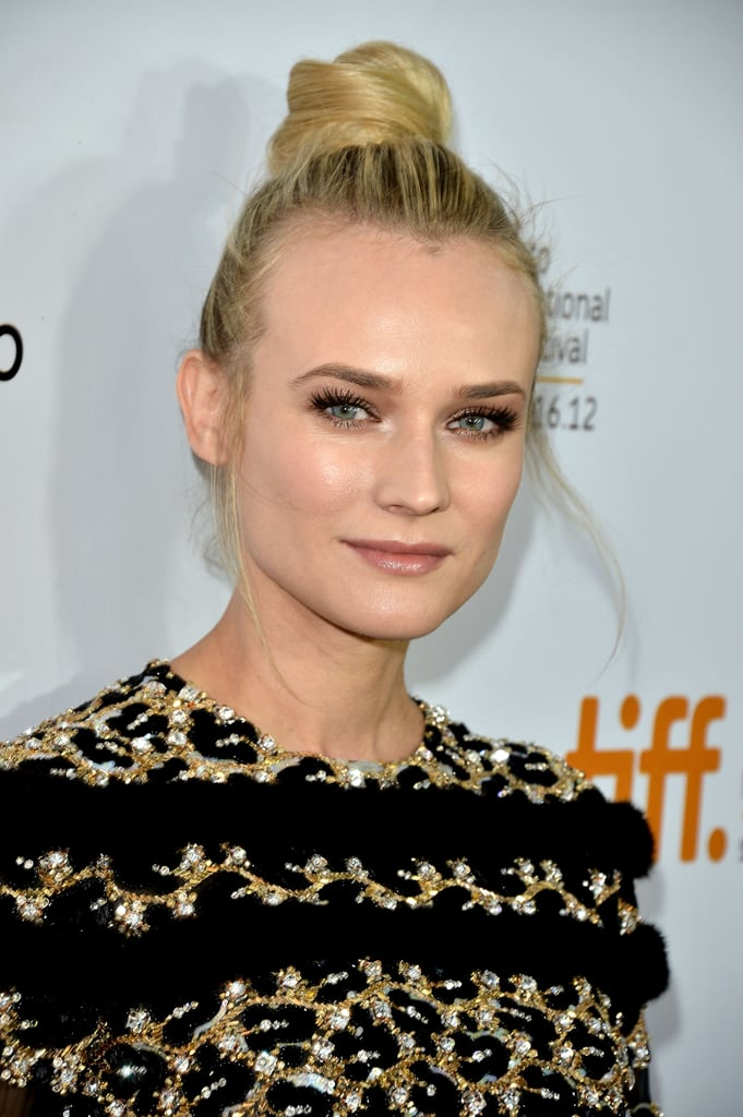 Diane Kruger wore her hair in a bun on the top of her head for the Inescapable premiere at the Toronto International Film Festival.