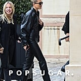 Hailey Bieber's Leather Outfit and Pink Heels