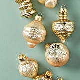 Glitter-Brushed Ornaments, Set of 9