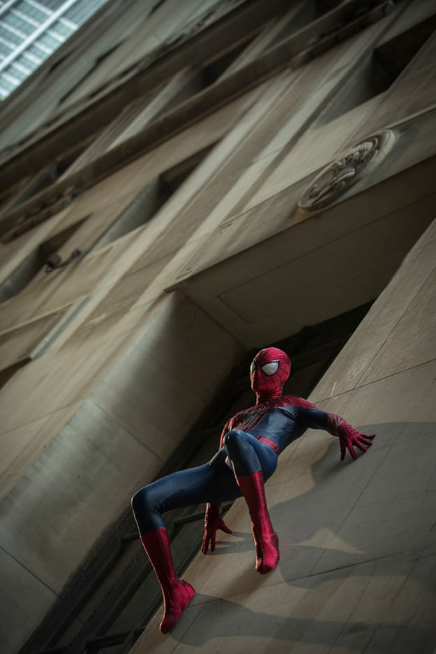 Spider-Man easily scales buildings.