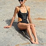 Paris Hilton showed off her tanned toned body on Cavallo Island.