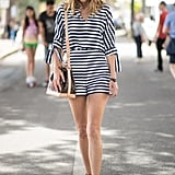A Striped Romper and Sandals