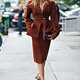 Dree Hemingway showed of some sharp suiting and '70s-style platforms.