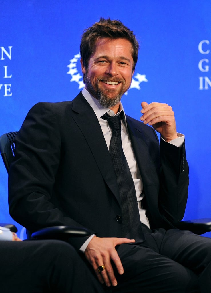 Brad seemed to catch a case of the giggles during the Clinton Global Initiative in NYC in September 2009.