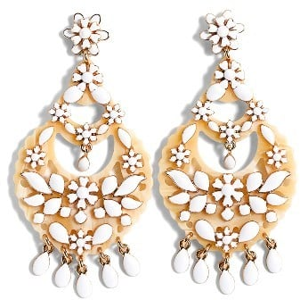 The uniquely feminine vibe of these J.Crew floral chandelier earrings ($65) will look lovely with all your Spring and Summer dresses, though particularly with that LWD you've been saving.