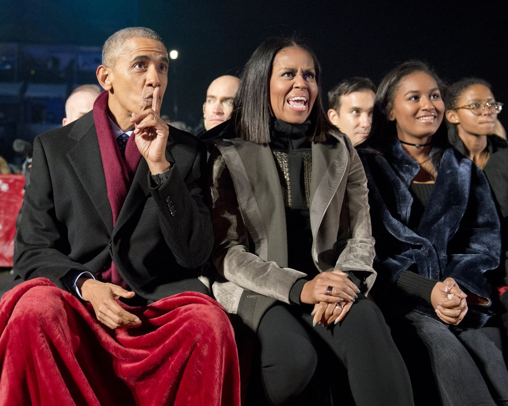 Later, Michelle Topped Off Her Look With a Gray Coat