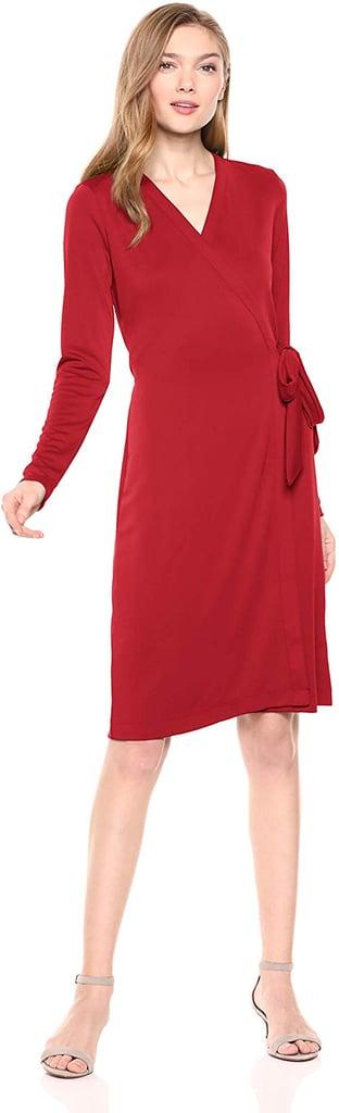 Lark & Ro Signature Long-Sleeve Wrap Dress