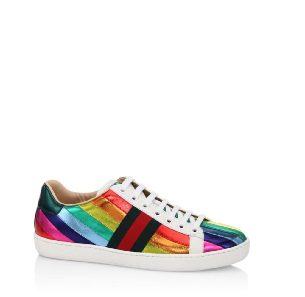 Gucci New Ace Metallic Rainbow Sneakers
