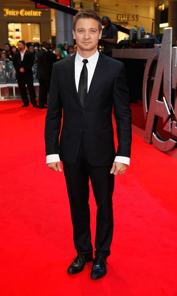 Jeremy Renner looked sharp in his suit on the red carpet in London for the premiere of The Avengers.