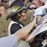 Johnny Depp said hello to fans at the Jimmy Kimmel Live studios.