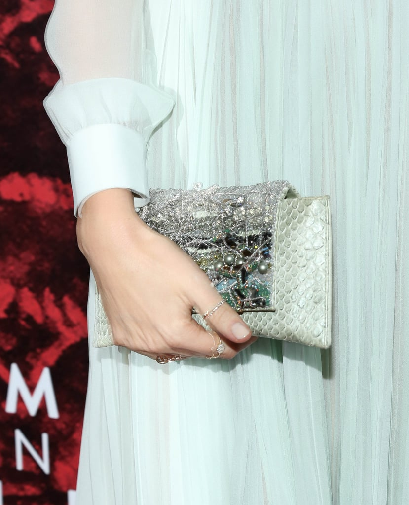 A heavily embellished snakeskin clutch was the perfect touch of luxe to Miranda's red carpet look.