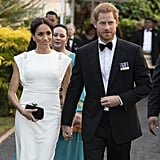 Meghan wore the ring for a second time while in Tonga with Prince Harry, during their first royal tour as a married couple. It perfectly complemented her custom Theia gown and Givenchy clutch.