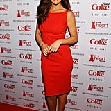 Minka Kelly donned this red-hot shift before slipping into DvF at the Heart Truth collection.