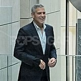 George Clooney smiled on his way into a casino.