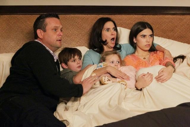 Lenny Venito, Clara Mamet, Jami Gertz, Isabella Cramp, and Max Charles on The Neighbors. Photo copyright 2012 ABC, Inc.