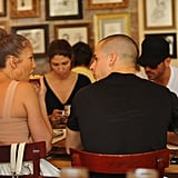 Jennifer Lopez sat next to Casper Smart at lunch in NYC.