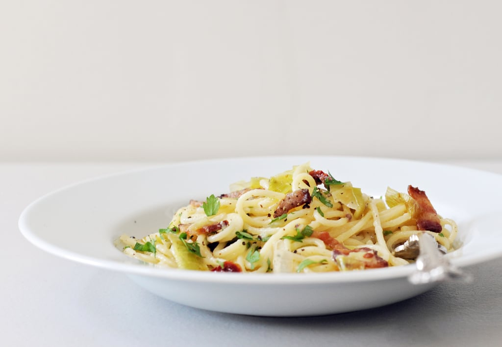Pasta Carbonara With Sun-Dried Tomatoes and Leeks