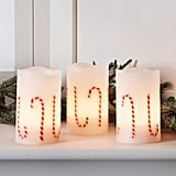 Flameless Christmas Candy Cane Candles