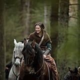 We can only wonder what must've been making Balfe laugh during this season four scene in the woods.