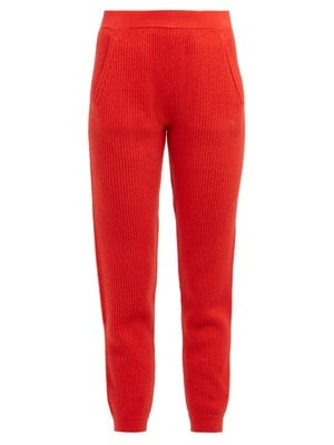 Allude Ribbed-Knit Cashmere Track Pants