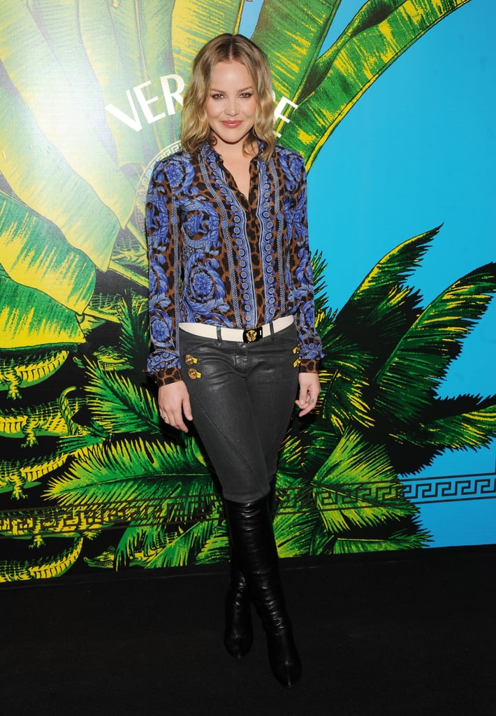Abbie Cornish in a printed shirt at a fashion show in NYC.