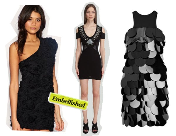 TFNC Rose Appliqué Dress ($78), Sass & Bide Heartbreaker Dress ($620), Burberry Prorsum Paillette-Embellished Dress ($1,005, originally $3,350)