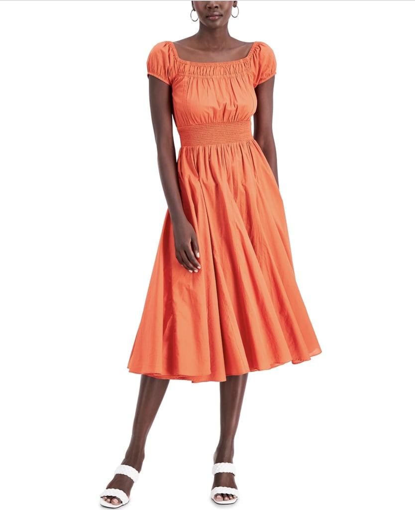 INC International Concepts Cotton Smocked-Waist Midi Dress