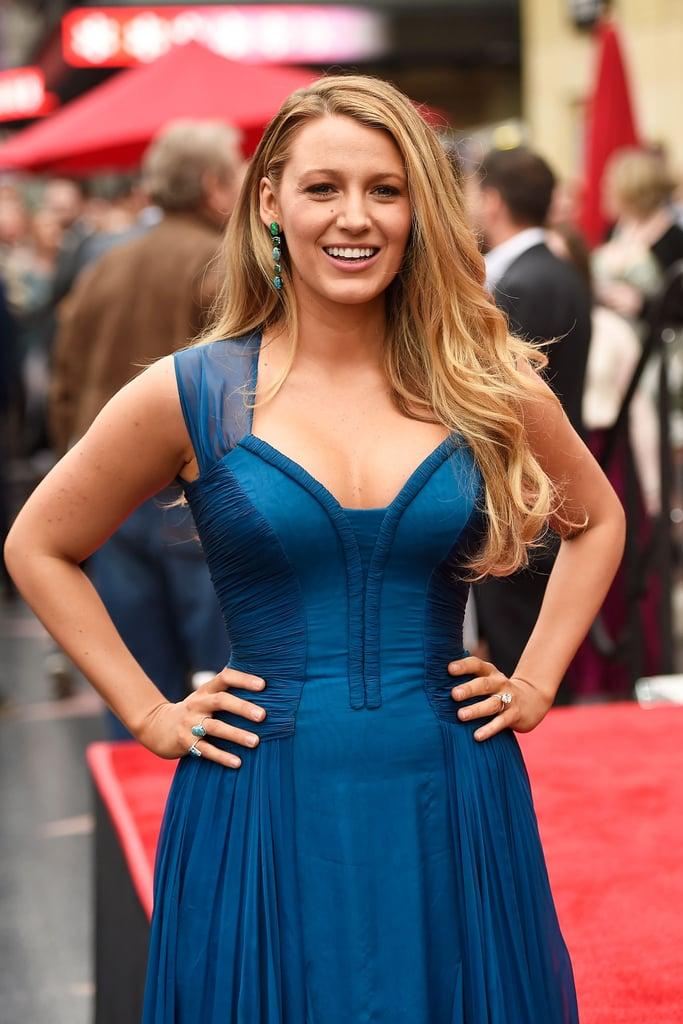 Blake Lively Blue Dress at Hollywood Walk of Fame 2016