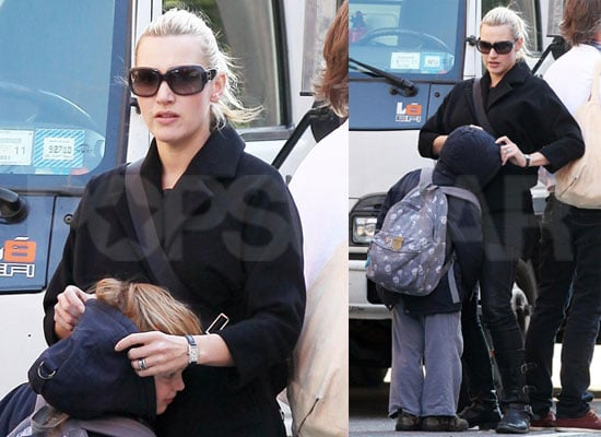 Photos of Kate Winslet and Joe Mendes Walking Home After School in NYC