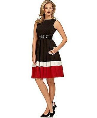 O Oscar Colorblock Belted Sleeveless Dress - Dresses - Women's  - Macy's
