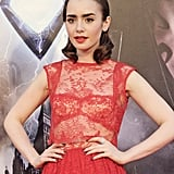 This vintage-style hair that Lily Collins was rocking at the Madrid premiere for The Mortal Instruments was close to perfection — and here's how you can re-create it.