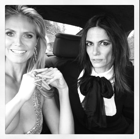 Heidi Klum went for a very plunging neckline via Julien Macdonald. Source: Instagram user msnewbark